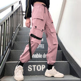 Streetwear Women's pants Embroidery Joggers Solid Big Pocket Pants