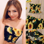 Women Boob Tube Top Sunflower Bustier Sheer Crop Top
