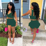 Two Piece Set Ruffles Decor V-Neck Sleeveless Backless Solid Color