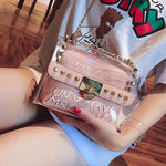 Handbag PVC Transparent Women Bag Sweet Printed Letter Square