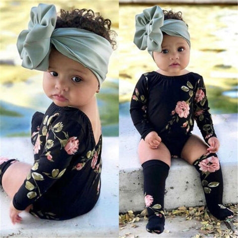 Lovely Dew-back Round Collar Infant Baby Girls Floral Summer Bodysuit Stockings