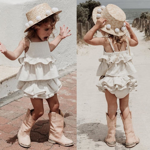 Toddler Kid Baby Girl Causal Cotton White Clothes Headband Ruffle Tops Pants Skirt Outfit