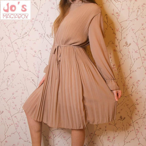Korean Casual Long Sleeve Mid-Calf Party Dress Vintage Cute