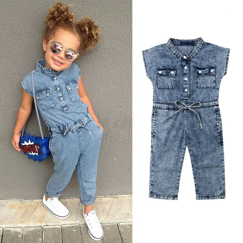Summer Kid Baby Girl Clothes Pocket Denim Romper Jumpsuit Trousers Outfit Toddler Girl Sunsit Playsuit