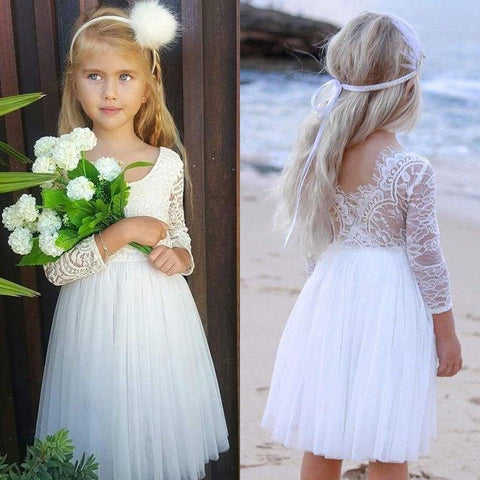 Party Wedding Baby Girls Dress Kids Baby Flower Lace Dresses For Girls Princess Toddler