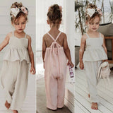 Toddler Kids Baby Girl Clothes Solid Color Holiday Overall Ruffle Bandage