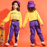 teenage girls clothing Kids Jazz Dance Costume Set Printed Loose Cropped T Shirt jogger pants