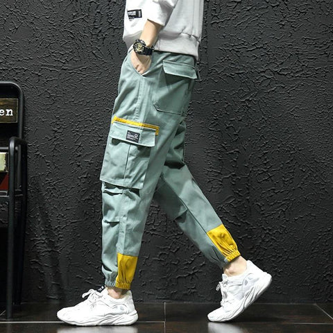 Multi Pockets Cargo Harem Jogger Pants Men Hip Hop Fashion Casual Track Trousers