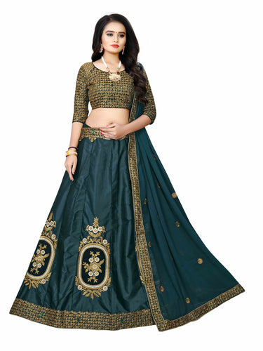 Drasty Green  Embroidered Attractive Party Wear Silk Material With Stone work Lehenga  with Matching Color unstiched blouse.