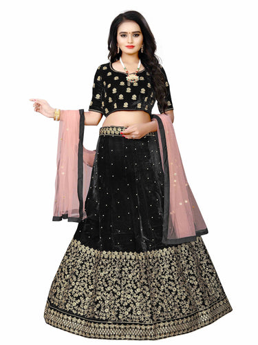 Heavy Velvet silk Black Colour Semi-Stitched Wedding Lehenga Choli