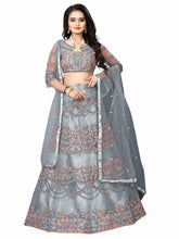 Load image into Gallery viewer, Grey Net Lehenga choli semi stich spacial for indian function