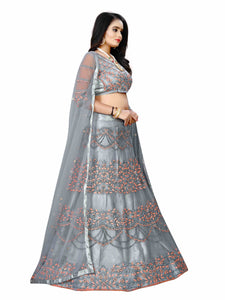 Grey Net Lehenga choli semi stich spacial for indian function