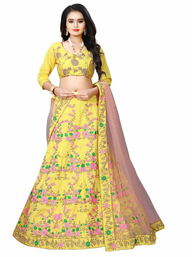 Yellow Malay Satin Heavy Lehenga choli for women
