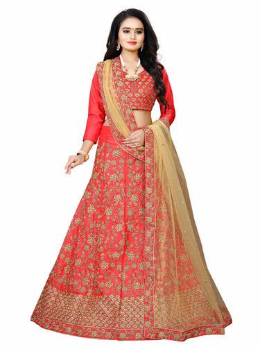 Red Malay Satin Heavy Lehenga choli