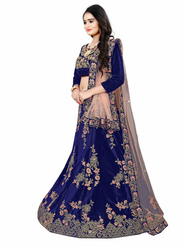 Nevy Blue Velvet Heavy Lehenga choli for women