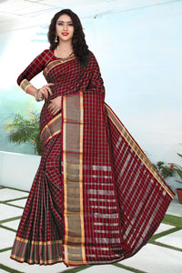 Brown color Exclusive Design cottan silk saree contrast pallu and Running Maching Blouse