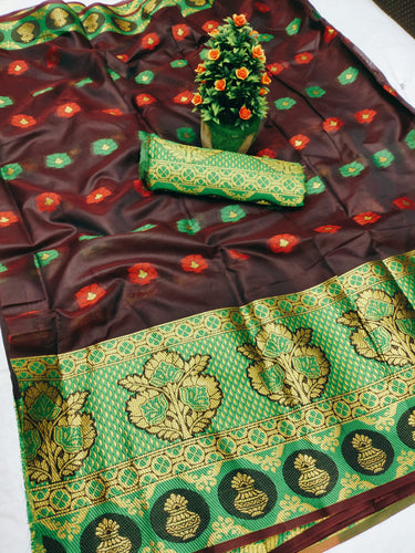 New Design Pure Cotton Silk Saree With Contrast Pallu And Contrast Matching Blouse Brown color