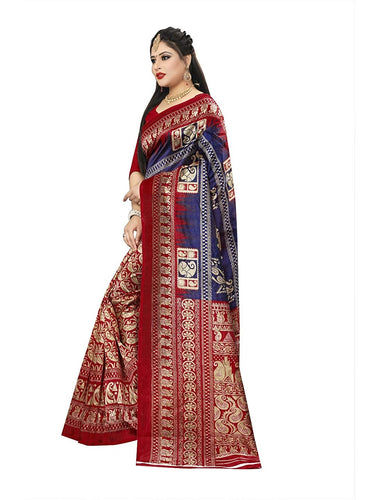 New Printed Saree with printed pallu and blouse blue red color saree for women