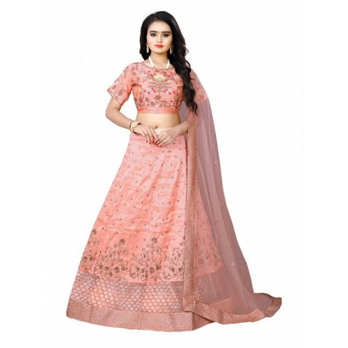 Pastel Pink  Colored Blouse Embroidered Attractive Party Wear Lehenga Choli