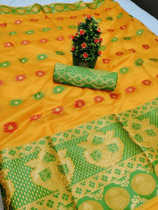 New Design Pure Cotton Silk Saree With Contrast Pallu And Contrast Matching Blouse Yellow color