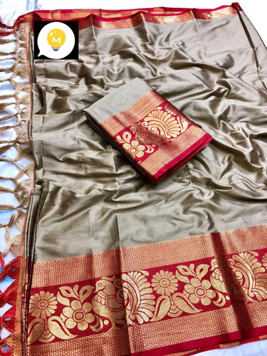 Pure cottan silk saree contrast pallu and Running Border Blouse Grey and Red color