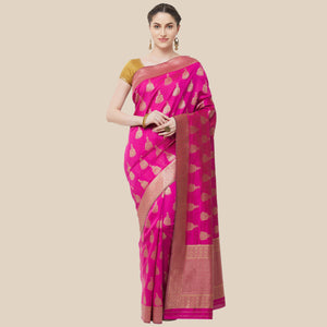 New Design with Golden Rich pallu Pink color Saree with Maching Blouse
