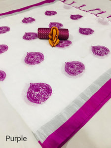 Preamium Peacock Design linen Febric Saree and lichi color Border with jacaurd Blouse Purple color