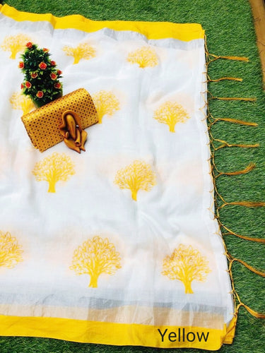 Preamium linen Febric and lichi Yellow color Border with jacaurd Blouse
