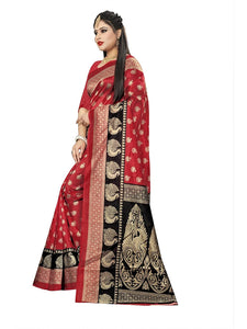 Soft silk printed saree with silk blouse red color saree for women