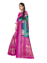 Load image into Gallery viewer, New Printed Saree with printed pallu and blouse green pink color saree for women