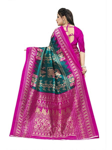 New Printed Saree with printed pallu and blouse green pink color saree for women