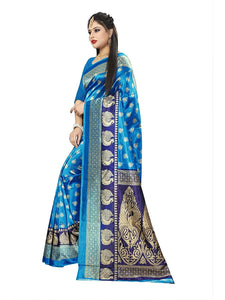 Soft silk printed saree with silk blouse blue color saree for women