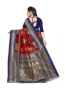 New Printed Saree with printed pallu and blouse red blue color saree for women