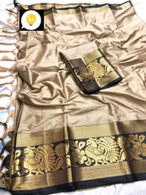 Load image into Gallery viewer, Pure cottan silk saree contrast pallu and Running Border Blouse Creme and Black color