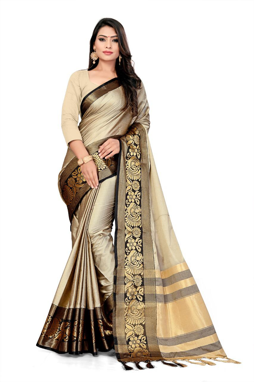 Pure cottan silk saree contrast pallu and Running Border Blouse Creme and Black color