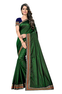 Embroidery Lace Work Broder with Heavy Sana Silk Fabric Dark Green color saree for women