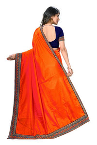 Embroidery Lace Work Broder with Heavy Sana Silk Fabric Orange color saree for women