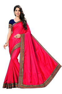 Embroidery Lace Work Broder with Heavy Sana Silk Fabric Pink color saree for women