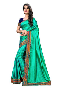 Embroidery Lace Work Broder with Heavy Sana Silk Fabric Rama color saree for women