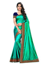 Load image into Gallery viewer, Embroidery Lace Work Broder with Heavy Sana Silk Fabric Rama color saree for women