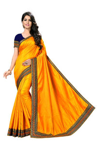 Embroidery Lace Work Broder with Heavy Sana Silk Fabric Yellow color saree for women