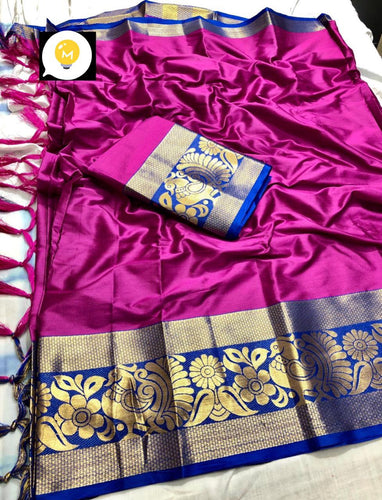 Pure cottan silk saree contrast pallu and Running Border Blouse Pink and Blue color