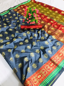 Rich look new Designer Soft Banarasi silk Contrast Pallu Saree and Contrast blouse with multi color