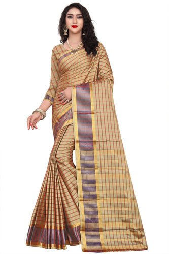 Creme color Exclusive Design cottan silk saree contrast pallu and Running Maching Blouse