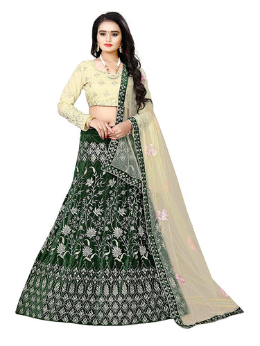 Green Colored Embroidered Attractive Party Wear Designer  Lehenga  Choli  with Matching Color unstiched blouse.
