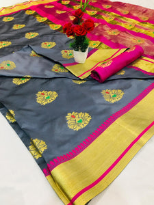 Exclusive Design Pure Soft Banarasi silk Contrast Pallu and Contrast blouse Grey color