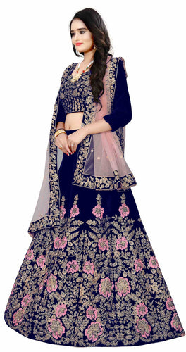 Nevy Blue Velvet designer Lehenga choli for women