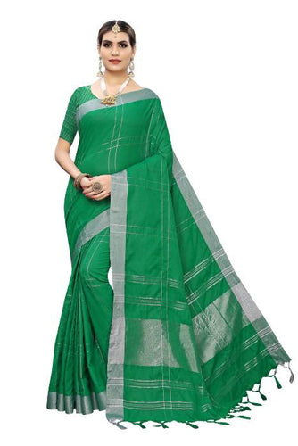 Cotton Silk Checks design Silk saree Green color saree for Daily Ware.