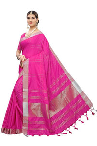 Cotton Silk Checks design Silk saree Pink color saree for Daily Ware.