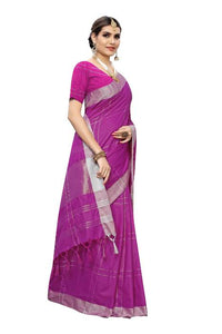 Cotton Silk Checks design Silk saree Purple color saree for Daily Ware.